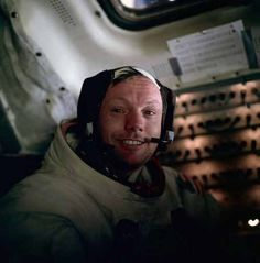 A teary-eyed Neil Armstrong photographed by Buzz Aldrin shortly after walking on the moon.