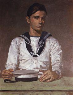 Portrait of a sailor by Yannis Tsarouchis (Greek painter Comics Illustration, Illustrations, Art Gay, Queer Art, Male Figure, Gustav Klimt, Henri Matisse, Figurative Art, Folk Art