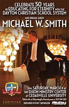 Can't believe I missed this. WHAT?! Michael W. Smith @ Cedarville University.  I would love to see him in concert with a symphony orchestra....*sigh*. Meeting him and seeing him in concert 15 years ago wasn't enough ;-)