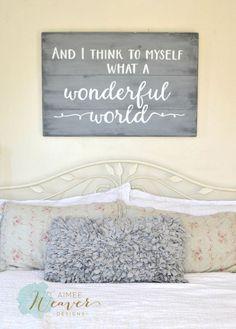 """What a wonderful world"" Wood Sign {customizable}:"