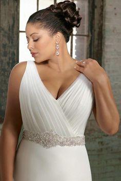 Elegant V Neck Plus Size White Gown