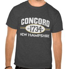 Hip, Hip Hooray we got your   CONCORD NEW HAMPSHIRE 1734 city incorporated graphic tee. Whether printed on charcoal heather gray, navy blue, or any dark color tee you wish this shirt is going to be amazing and all your friends are going to ask you where you get the cool tee from.  So friend what are you waiting for? grab yours today. www.citystyletees.com