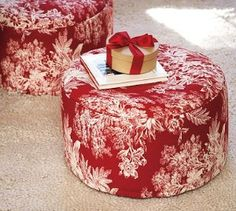 Red toile tuffets from Pottery Barn. As soon as you add feet, it is a footstool. As soon as you add storage, it is ab ottoman. French Country Cottage, White Cottage, French Country Style, French Decor, French Country Decorating, Colors Of Fire, Shades Of Red, My Favorite Color, Pottery Barn