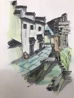 Old China village  Watercolor pencil