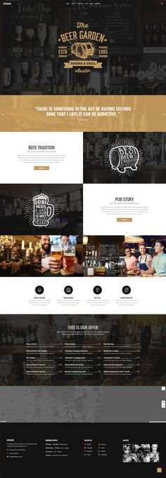 Revolver - Tattoo Studio and Barbershop Theme - Revolver is an extraordinary WordPress theme for any barbershop, biker club, pub or tattoo salon. Craft Beer Shop, Craft Beer Gifts, Craft Bier, Pub Design, Layout Design, Design Web, Hipster Graphic Design, Wordpress Theme, Vintage Web Design