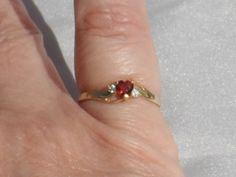 Sale, 10K Gold Garnet Heart Ring, Size 6.5, Signed, Vintage 1990s