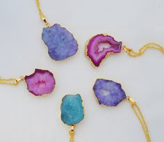 Druzy Geode Necklace Solar Blue Stone Pendant Pink Quartz Slice Gold Necklace Mineral Necklace Green druzy necklace. solar stone jewelry stalactite necklace solar quartz slice gold edged stone stone jewelry blue solar pendant blue stone necklace aquamarine stone pink druzy necklace blue geode pendant purple oval druzy colorful necklace mineral stone 25.00 USD #goriani