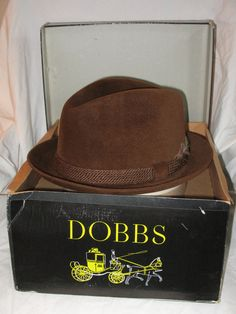 124151f6799d99 JAZZY Vintage Men's FEDORA Derby Hat...DOBBS Hat..Luscious  Chocolate..Cashmere Finish..Self Conforming Skinny Brim.Style..7 1/8  Original box