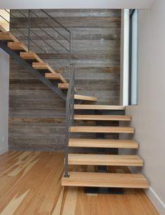 Escalier bois hickory et métal