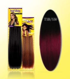"Beauti Collection Human Hair Weave -Yaki Weave 12"" - T1B/530 Two Tone Burgundy - Size: 12"""