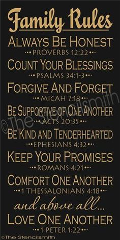 Scripture based Family Rules  This could work for school rules too.