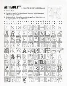 Alphabet 100...different handwritten letters of the alphabet.