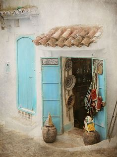 Shop, Chefchaouen, Morocco - xatstilo:- I was been there, in town and maybe in that shop Travel Honeymoon Backpack Backpacking Vacation Moroccan Design, Moroccan Style, Moroccan Art, Tadelakt, Marrakesh, North Africa, Casablanca, Windows And Doors, The Places Youll Go