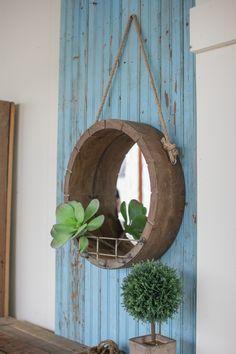 Kalalou Hanging Round Wooden Mirror With Rope Hanger Metal Shelf