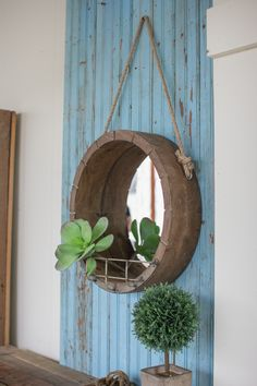 Kalalou Hanging Round Wooden Mirror With Rope Hanger Metal Shelf