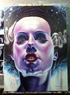 Universal Monsters, A Group Art Show Inspired by Classic Film Monsters Bride of Frankenstein by Jason Edminston Mondo Gallery will be featuring original works and limited edition screen prints from a large collection of Horror Vintage, Jason Edmiston, Pop Art, Poster Print, Monster Illustration, Frankenstein's Monster, Classic Horror Movies, Horror Films, Horror Icons