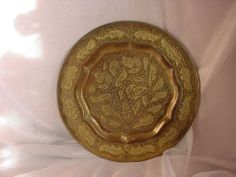 Vintage Brass Plate Ornate Wall Decor Openwork Leaves 11 Inch Exotic
