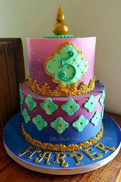 Shimmer and Shine cake decorated with modeling chocolate.