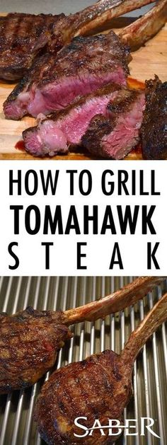 4 Points About Vintage And Standard Elizabethan Cooking Recipes! Tomahawk Steak Is A Large, Fred Flintstone Style Steak Sure To Impress Your Guests In Both Size And Flavor, Especially When Grilled On A Saber Grill. Barbecue Recipes, Grilling Recipes, Meat Recipes, Cooking Recipes, Vegetarian Grilling, Healthy Grilling, Barbecue Sauce, Vegetarian Food, Cooking Tips