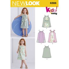 These adorable pillowcase dresses for Toddlers feature view with contrast panel and tie that can be worn in the front or back of dress. Vew with contrast center front panel or tiered ribbon and lace with bow straps. New Look sewing pattern.