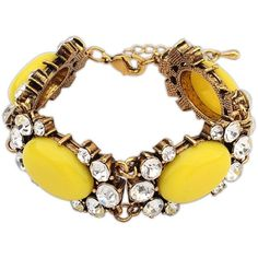 Ruby Rocks Jewellery Cut Yellow Gem & Crystal Bracelet ($24) ❤ liked on Polyvore featuring jewelry, bracelets, yellow, yellow bracelet, gemstone bracelet, crystal jewelry, gem jewelry and bracelet jewelry
