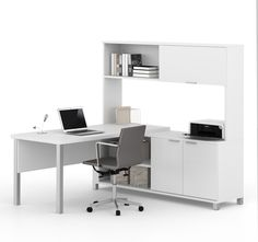 This elegant L-shaped desk combines modern design elements with classic office functionality and premium quality. The executive desk with privacy panel and silver legs combines with a credenza and hut