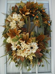 Autumn Wreath Fall Wreath Large Spray Long Narrow Wreath Real Feathers Earth Tone Hydrangeas Daisies Magnolias Decoration Front Door Wreath