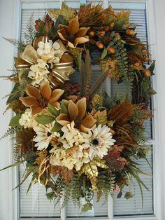 Autumn Wreath Fall Wreath Large Spray Long Narrow Wreath Real Feathers Earth Tone Hydrangeas Daisies Magnolias Decoration Front Door Wreath
