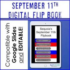 DIGITAL September 11 Flipbook | Patriot Day Flip Book | Editable 9-11 --- Great for 2nd, 3rd, 4th, 5th, 6th, 7th, or 8th grade elementary and middle school students who want to record their learning about Sept. 11th. Digital AND print options available! (second, third, fourth, fifth, sixth, seventh, eighth graders) 5th Grade Classroom, Middle School Classroom, Intermediate Grades, Patriots Day, Middle Schoolers, September 11, Reading Material, 5th Grades, Third