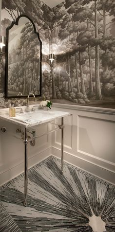 de Gournay: 'English Landscape' design in Eau Forte. The Ritz. Interior design by Frank Poterio. And the floor!