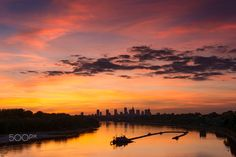 September Sunset over Vistula river - Autumn sunset are the most colorful sunsets of the year.