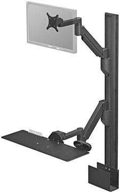 Data Entry Combo 2 Heavy Duty Wall Mount shown with Keyboard Tray, LCD Monitor Arm and CPU Holder options, $752