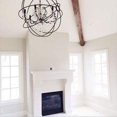 Dove White trim and Ashwood for walls, both by Benjamin Moore.-TRIM WITH POSSIBLE GREAT ROOM COLOR //I love the beam//: