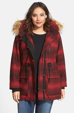 Steve Madden 'Red Stripe' Hooded Duffle Coat with Faux Fur Trim (Plus Size) available at #Nordstrom