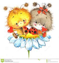 Giorno Di S. Valentino E Coccinella Sveglia, Cuore Rosso Illustrazione di Stock - Immagine: 54381609