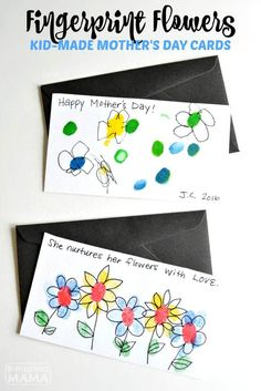 fingerprint flowers sweet handmade mothers day cards for kids at b inspired mama what a sweet homemade gift for kids to make mom or grandma