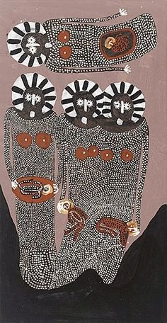 Jack Dale - Wandjinas (Baby Dreaming) 2006 via Aboriginal Painting, Aboriginal Artists, Dot Painting, Indigenous Australian Art, Indigenous Art, Aboriginal Culture, Art Premier, Wow Art, Outsider Art
