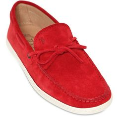 Tod's Men Marlin Suede Boat Shoes ($260) ❤ liked on Polyvore featuring men's fashion, men's shoes, men's loafers, mens suede shoes, mens shoes, sperry top sider mens shoes, tods mens shoes and mens suede boat shoes
