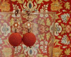 Burnt Orange Flower earrings | Flickr – Condivisione di foto!