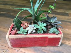 """Rustic reclaimed wood planter boxes!     The perfect addition to any home, garden, or office space! These make wonderful gifts and look adorable with planted succulents. All of our boxes are made with reclaimed wood, taken from deconstructed barns & fencing from around the country. We make every effort to be a completely sustainable business and love the idea of bringing life back into this old wood but planting greenery within it.  ● Rectangle Box: 11 1/4"""" L x 5 1/4"""" W x 3 1/4"""" H Wood Planter Box, Wood Planters, Succulent Boxes, Succulents, Old Wood, Fencing, Barns, Planting, Greenery"""