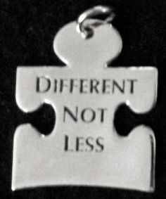 Autism Puzzle Piece Silver Pendant DIFFERENT NOT LESS