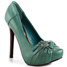 Snoop - Teal leather pump with buckle details by Naughty Monkey
