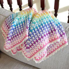 Pastel rainbow crocheted baby blanket, handmade. More