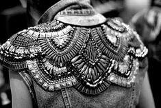 Embellished jacket back with structured pattern; close up fashion design detail by esmeralda Embroidery Leaf, Embroidery Fashion, Embroidery Designs, Fashion Fabric, Denim Fashion, Trendy Fashion, Fashion Bubbles, Merian, Fashion Details