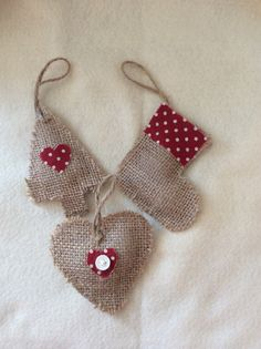 Set of 3 Handmade hessian burlap Christmas tree decorations