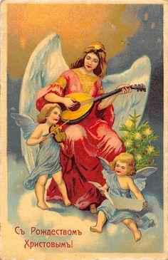 Merry Christmas! Woman Mandolin Angel, violin, cherubs, tree 1916 | eBay