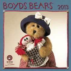 """Boyds Bear Mini Wall Calendar: For over 25 years the Folks at Boyds Bears™ have been giving out countless bear hugs with their adorable, fluffy, whimsically dressed bears and hares. Each month of this charming 2013 mini wall calendar finds bears of all sizes, dressed for the occasion, along with carefully selected """"insbearational"""" quotations"""
