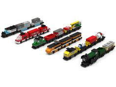In this builds you can find the micro variations of the following official Lego Train sets:7898 Cargo Train Deluxe, was released in 2006.10194 Emerald Night, was released in 2...