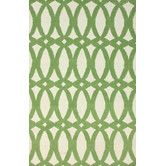 Found it at Wayfair - Flatweave Green Twizzle Area Rug.  Study -- or something geometric and then the curtains could be multi-color and the focal point.