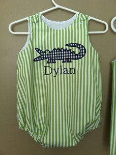Personalized Baby Boys Alligator Bubble by dotsndimplesboutique
